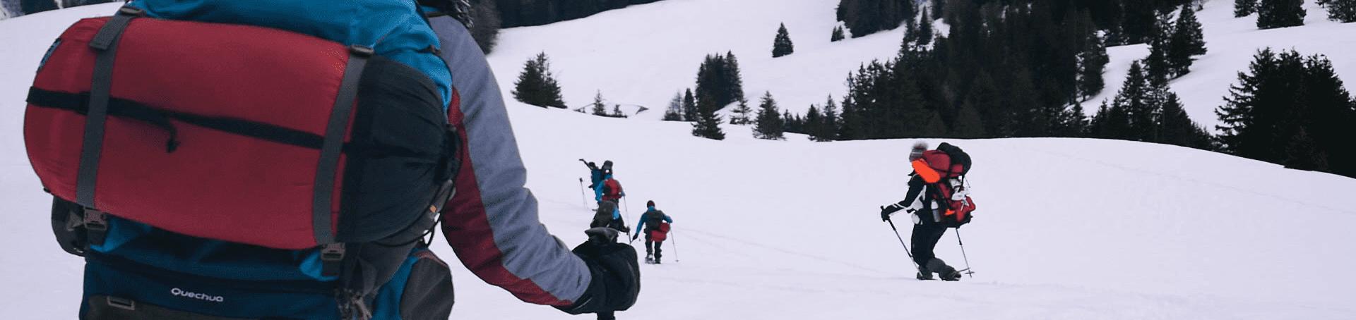 Eine Schneeschuhwanderung den Berg hinunter