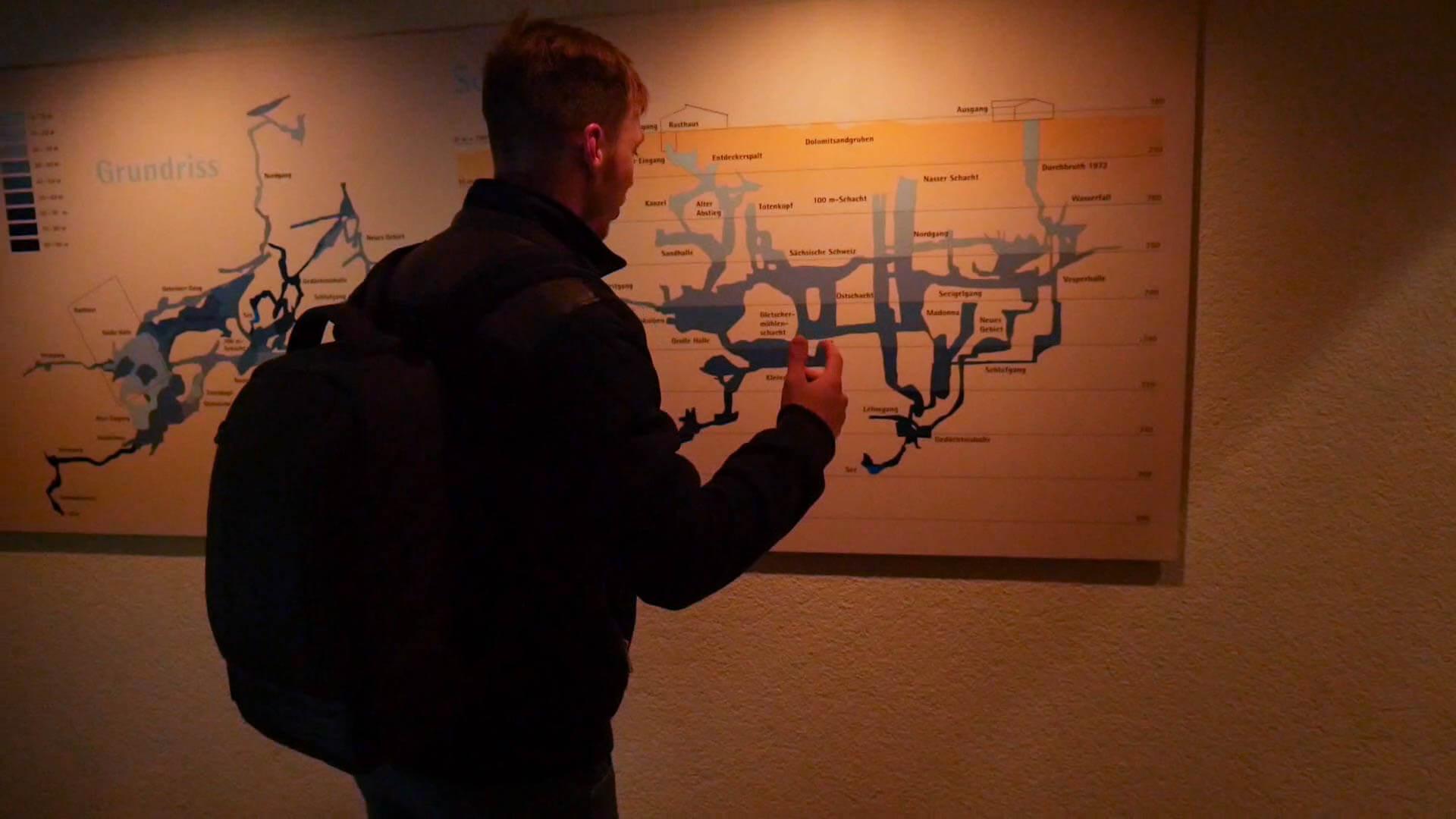Eine Karte mit der Aufzeichnung der Schachthöhle in Laichingen