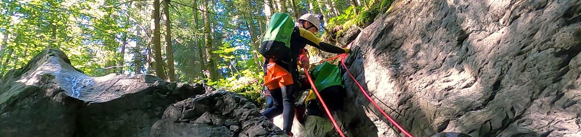 Klettern in der ersten Schlucht